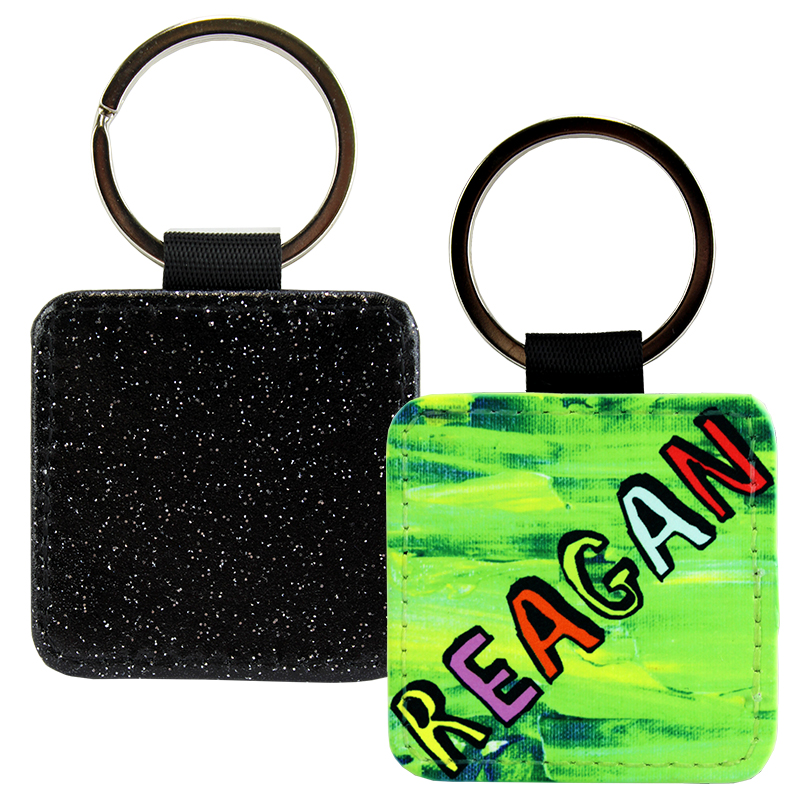 Sublimation Blank PolyLeather Glitter Keychain - Square - Black