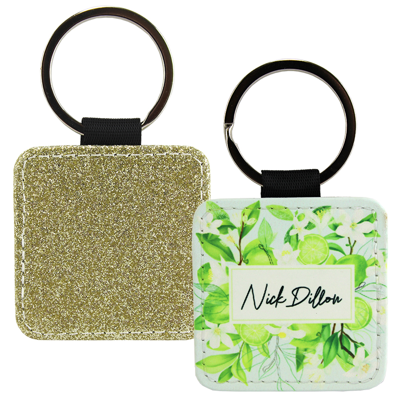 Sublimation Blank PolyLeather Glitter Keychain - Square - Gold