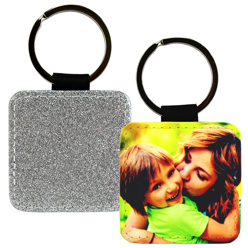 Sublimation Blank PolyLeather Glitter Keychain - Square - Silver