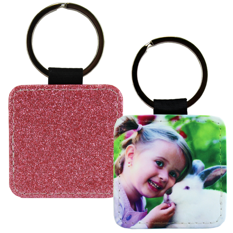 Sublimation Blank PolyLeather Glitter Keychain - Square - Light Pink