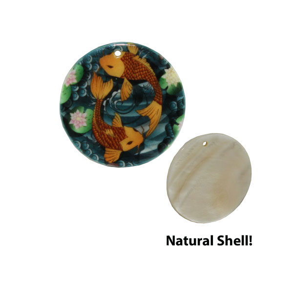 LumaShell™ Sublimation Blank Natural Shell Pendant- 30mm - Large Round