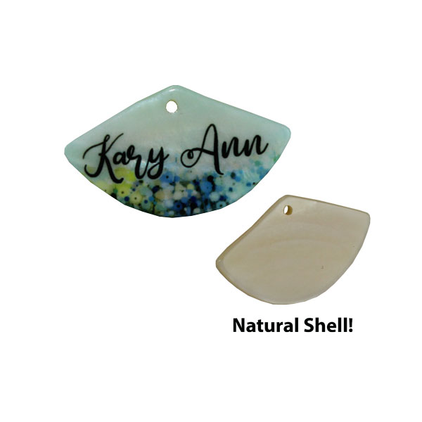 LumaShell™ Sublimation Blank Natural Shell Pendant- 20x35mm - Fan Shape