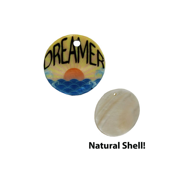 LumaShell™ Sublimation Blank Natural Shell Pendant - 20mm - Small Round