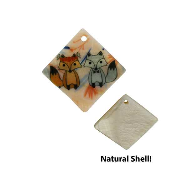 LumaShell™ Sublimation Blank Natural Shell Pendant - 19x19mm - Small Diamond