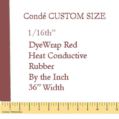 1/16 Heat Conductive Red Rubber Pad - By the Inch
