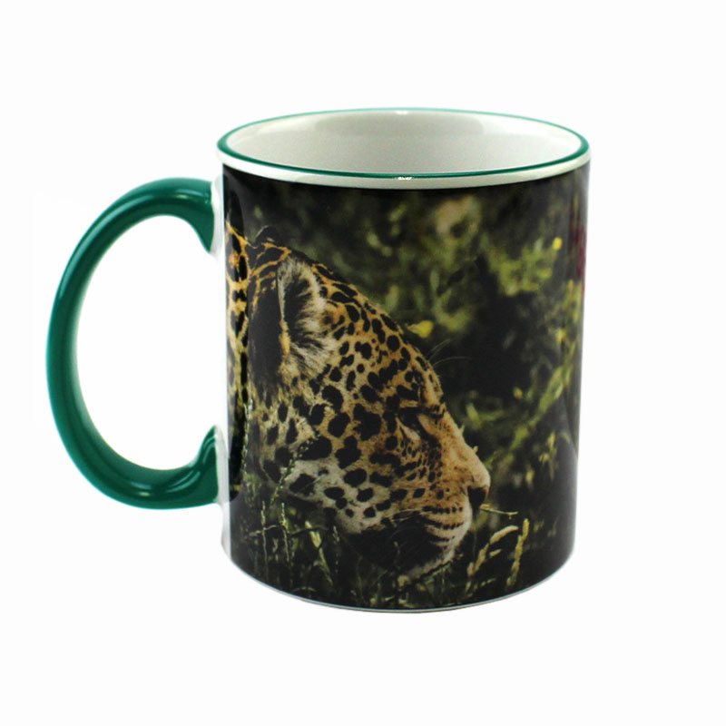 Accent Sublimation Blank Ceramic Mug - White w/Green Rim and Handle - 11 oz
