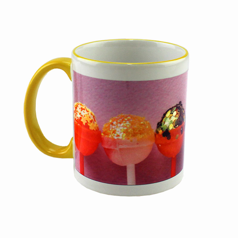 Accent Sublimation Blank Ceramic Mug - White w/Yellow Rim and Handle - 11 oz
