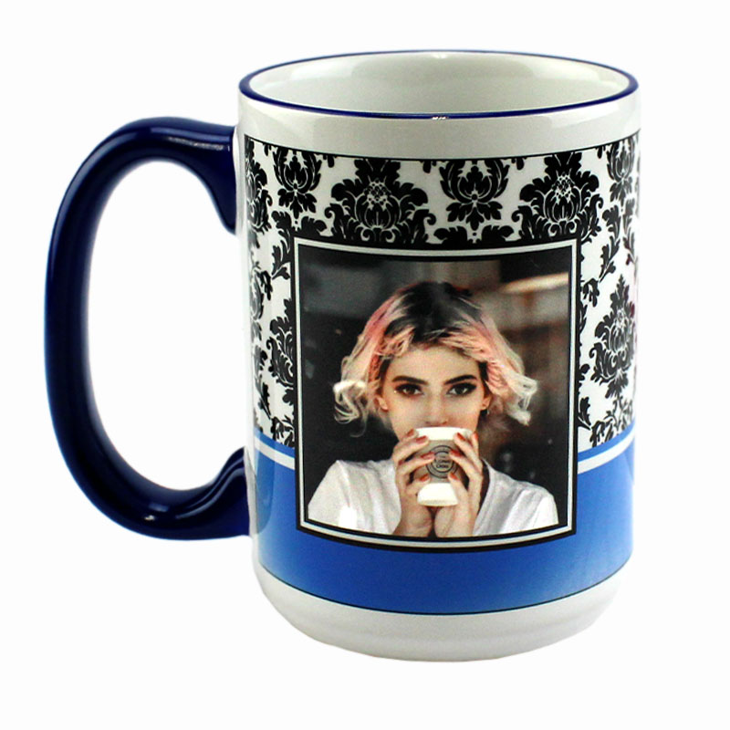 Accent Sublimation Blank Ceramic Mug - White w/Blue Rim and Handle - 15 oz