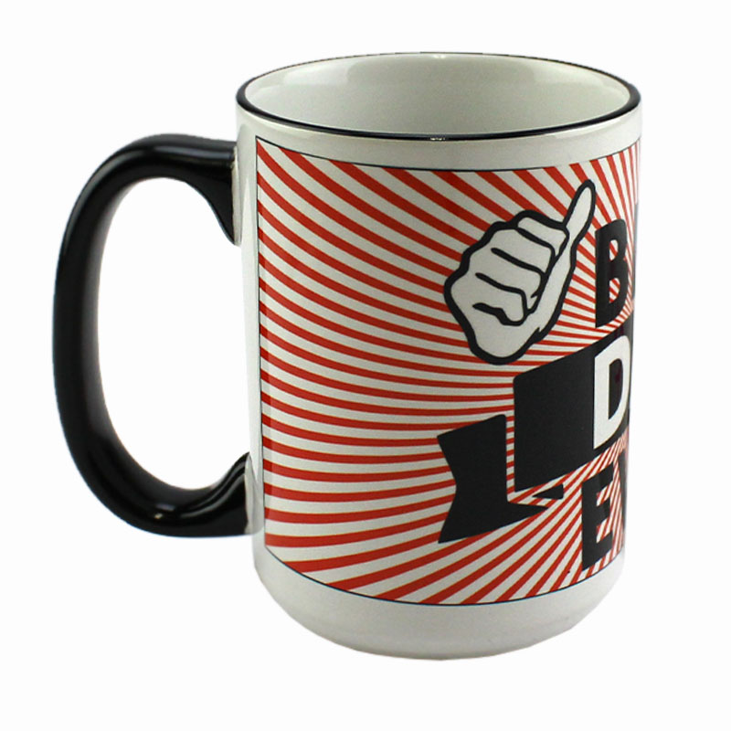 Accent Sublimation Blank Ceramic Mug - White w/Black Rim and Handle - 15 oz