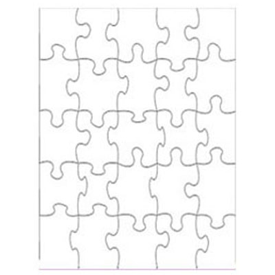DyeTrans Sublimation Blank Puzzle - 10.5 x 13.5 - 25 Pieces - Gloss White - 10 Pack