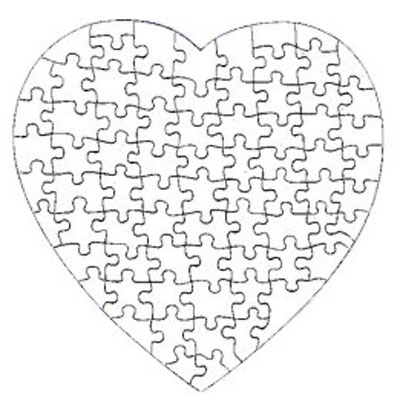 7.5 Heart Shaped 75 Piece Gloss Puzzle 10 Pack