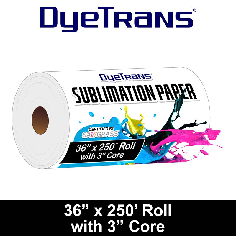 DyeTrans Multi-Purpose Sublimation Transfer Paper - 36 x 250' Roll