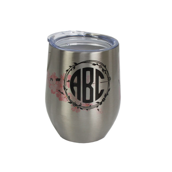 Dyetrans Sublimation Blank Stainless Steel Stemless Wine Tumbler - 12oz - Silver