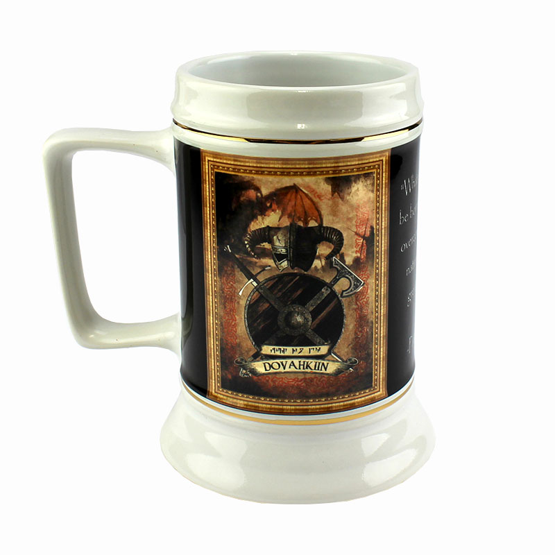 DyeTrans Sublimation Blank Ceramic Stein w/Flare Base and Gold Trim - 28oz