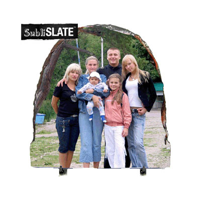 5.85x5.85 SubliSLATE™ 1/2 Oval Plaque with Feet