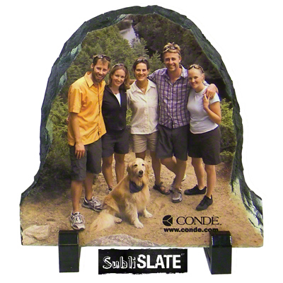 7.8x7.8 SubliSLATE™ 1/2 Oval Plaque with Feet