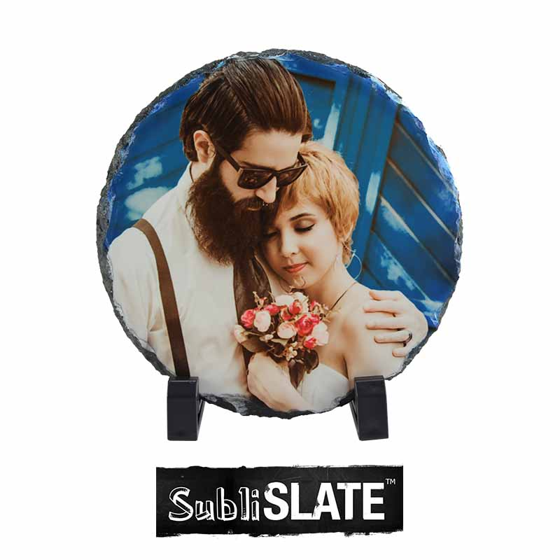 SubliSlate™ Blank Sublimation Slate Plaque - 5.9 Diameter - Round