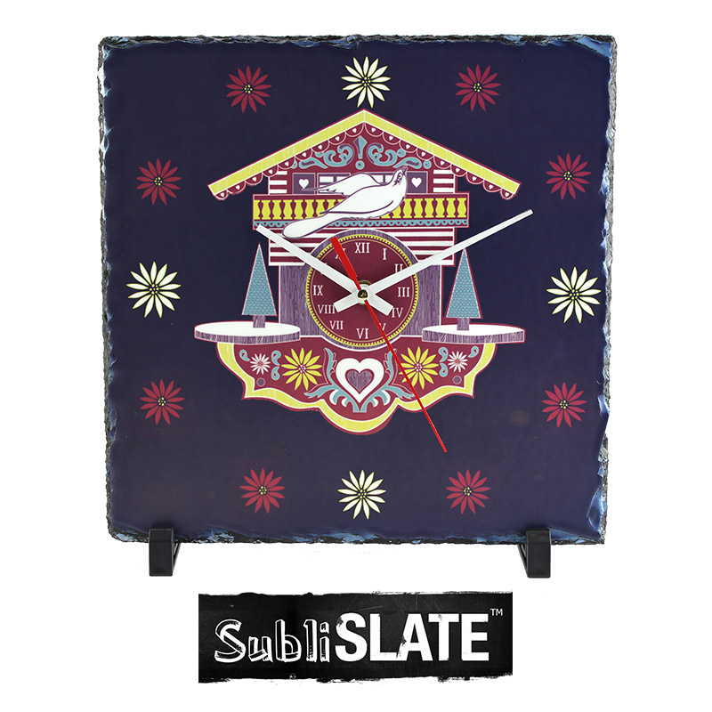 SubliSlate™ Blank Sublimation Slate Clock - 10.6x10.6 - Square