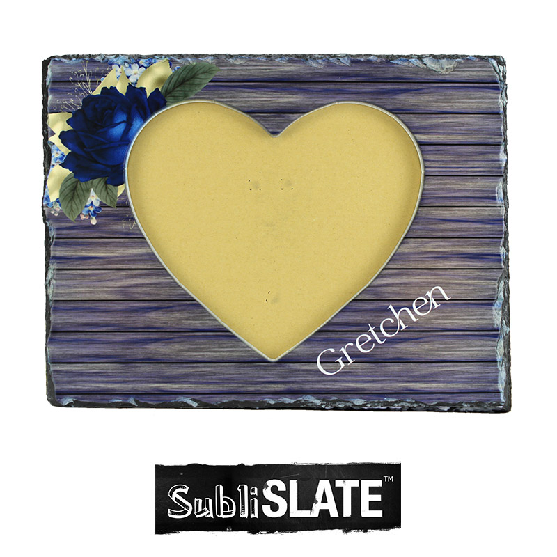 SubliSlate™ Blank Sublimation Slate Heart with Cut Out Frame - 7.5