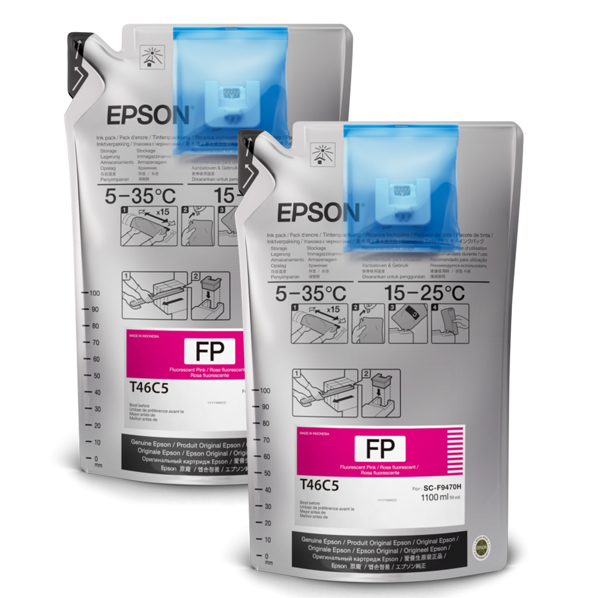 Epson® Dye-Sublimation Ink for F9470 Printers - Fluorescent Pink - 1000mL - 2 Pack