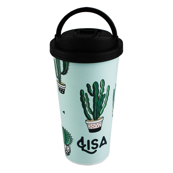 Luma Steel™ Sublimation Blank Stainless Steel Tumbler - 16oz - Handled Black Lid