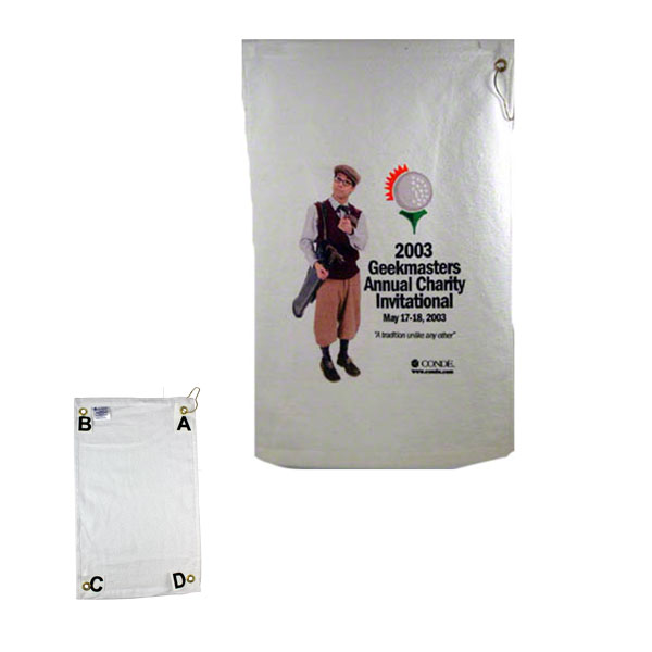 "DyeTrans Sublimation Blank Low Pile Towel -  16x25"" - Gromet Clip Position A"