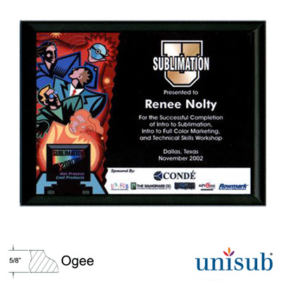 Unisub Sublimation Blank MDF Plaque - 7 x 9 - Black Ogee Edge