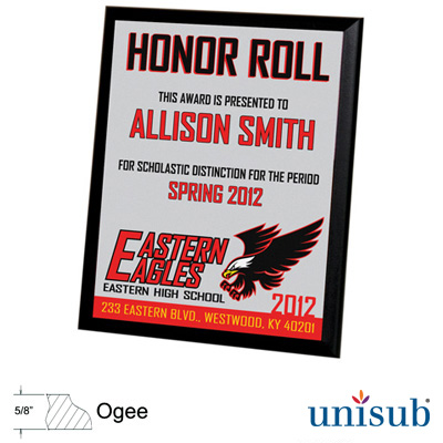 8x10 Unisub MDF Plaque w/Black Edge - White Gloss