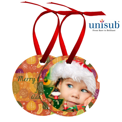Unisub® Sublimation Blank Aluminum Ornament - 2.75 Round w/Ribbon