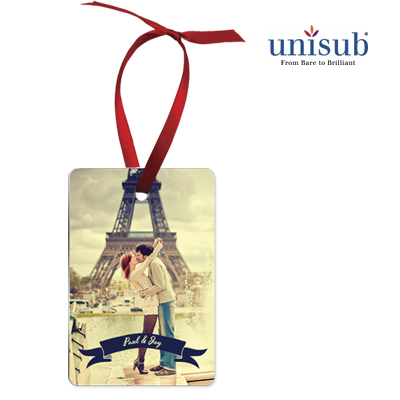 Unisub Sublimation Blank Aluminum Ornament - 2 x 3 Rectangle Portrait w/Ribbon