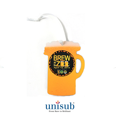 Unisub Sublimation Blank Aluminum Ornament - 2.97 x 3.95 Beer Stein w/Ribbon