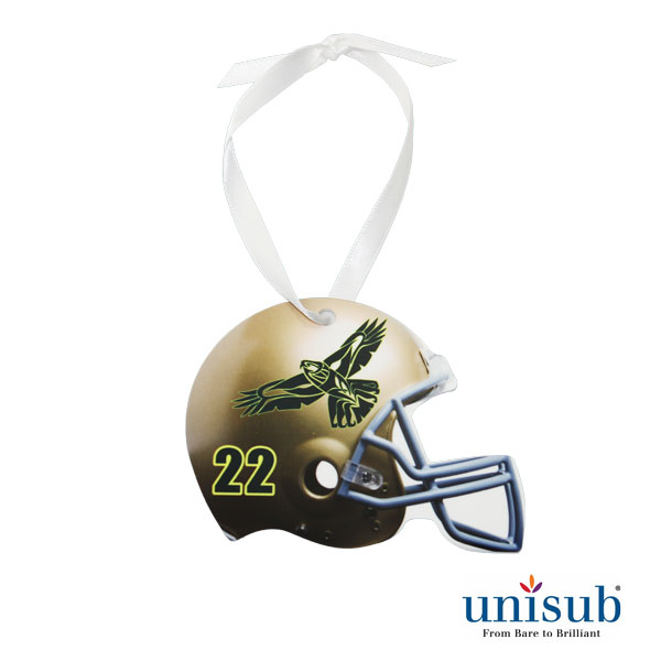 Unisub Sublimation Blank Aluminum Ornament - 2.75 x 3.53 Football Helmet w/Ribbon