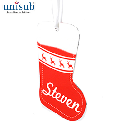Stocking 2Sided Aluminum Ornament