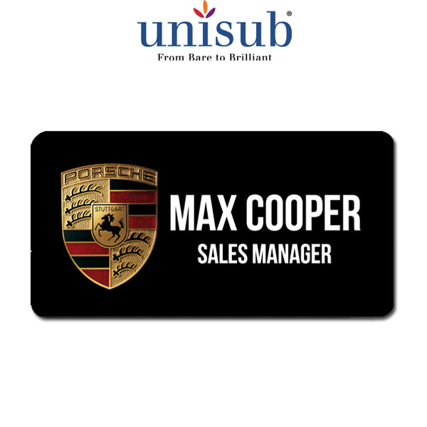 Unisub Sublimation Blank Name Badge - 1.5 x 3 - Aluminum - White Gloss