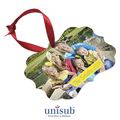 Unisub Sublimation Blank Aluminum Ornament - 2.76 x 3.95 Benelux 1-Sided w/Ribbon