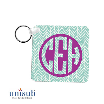 Unisub® Semi-Gloss White Square Keychain