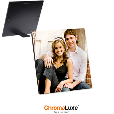 ChromaLuxe Sublimation Blank Hardboard Photo Panel - 6 x 6 - Semi-Gloss White w/Kickstand Easel