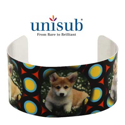 Unisub Sublimation Blank Cuff Bracelet - Large - White Gloss
