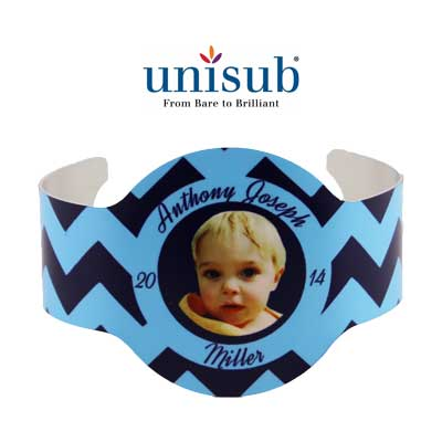 Unisub Sublimation Blank Cuff Bracelet - Geneva Shape - White Gloss
