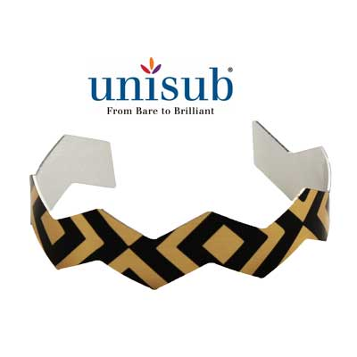 Unisub Sublimation Blank Cuff Bracelet - Chevron Shape - Gold Gloss