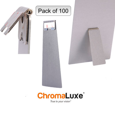 100 pack Silver Aluminum Hinged Easels-Medium Size