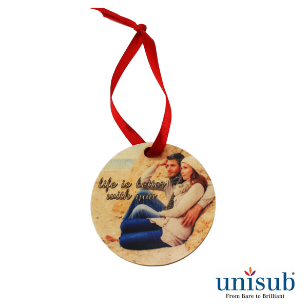 Unisub Sublimation Blank Natural Wood Ornament - 2.75 Round w/Ribbon