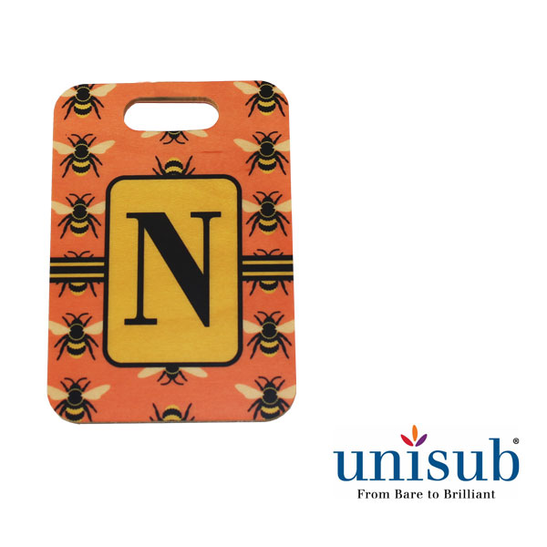 Unisub Natural Wood Rectangle Bag Tag