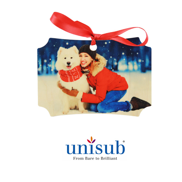 Unisub Sublimation Blank Natural Wood Ornament - 2.74 x 3.95 Berlin w/Ribbon