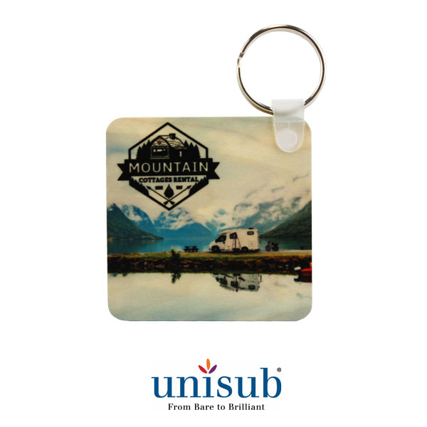2.25 Square Natural Wood Key Tag - Clear Matte