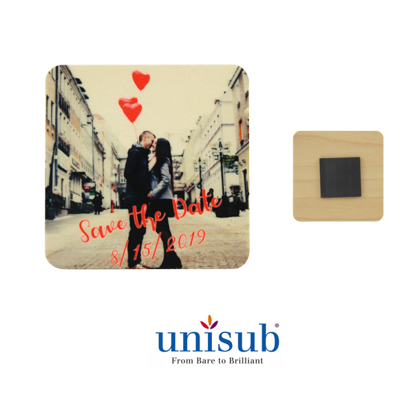 Unisub Sublimation Blank Natural Wood Magnet - 2.25 x 2.25 - Square