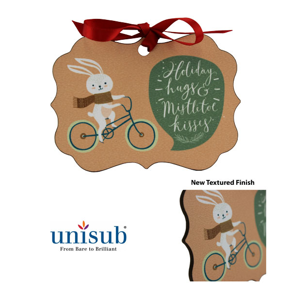 Unisub Sublimation Blank Textured Hardboard Ornament - Benelux