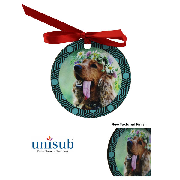 Unisub Sublimation Blank Textured Hardboard Ornament - Circle