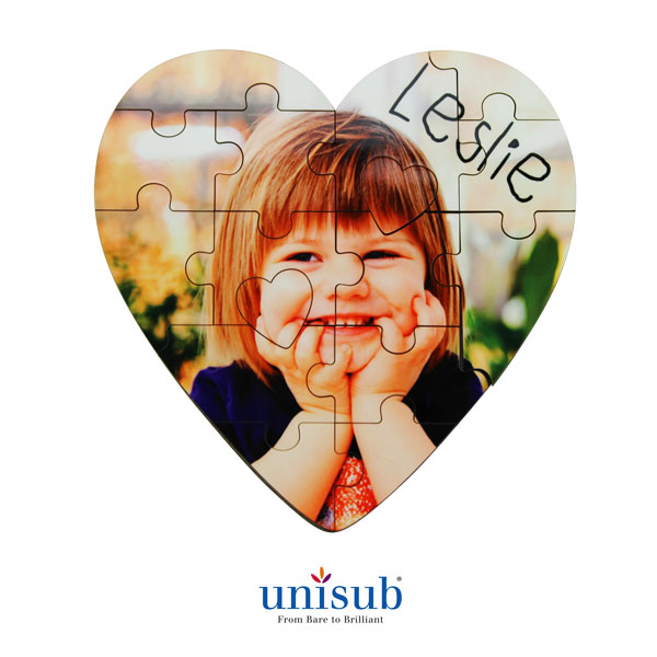 16 Piece Unisub® Sublimation Jigsaw Puzzle - 5x 5 - Heart