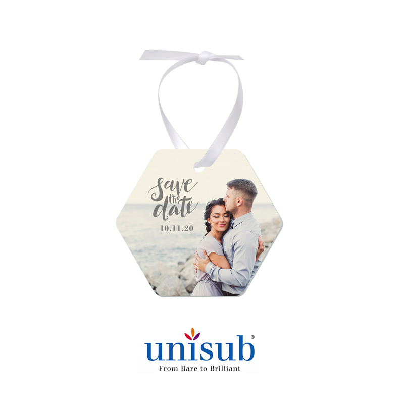 Unisub® Sublimation Blank Aluminum Ornament - Honeycomb Shape - w/White Ribbon
